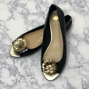 Kate Spade patent leather peep toe flats